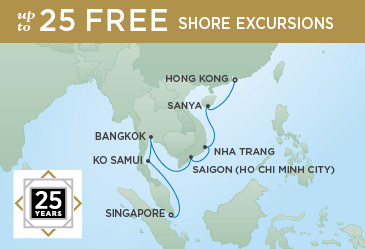Singapore to Hong Kong on Seven Seas Voyager