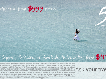 Australia to Mauritius Special Fares starting from $999 return